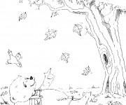 Coloriage Ours Automne dessin animé