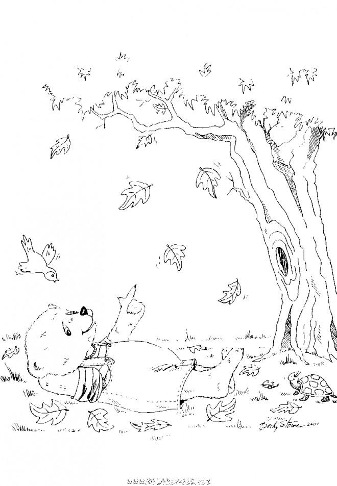 Coloriage et dessins gratuits Ours Automne dessin animé à imprimer