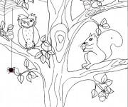 Coloriage Paysage Animaux et Arbre