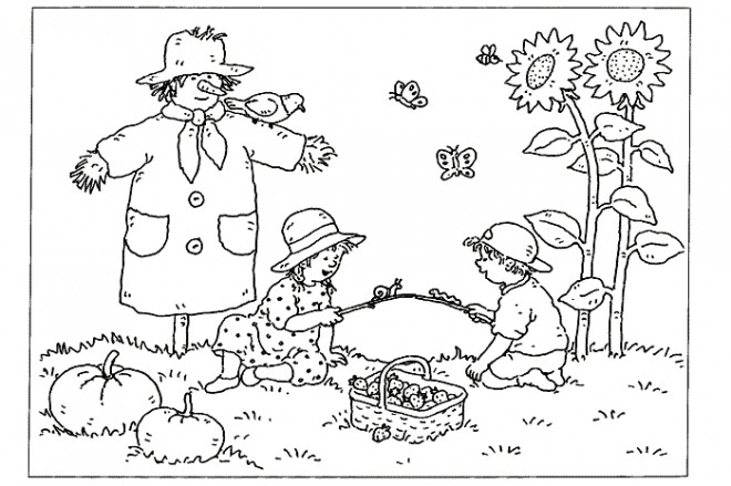 Coloriage et dessins gratuits Paysage de champ en Automne à imprimer