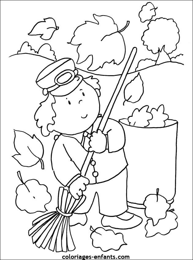 Coloriage Petit Enfant au jardin en Automne dessin gratuit à imprimer