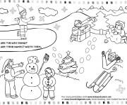 Coloriage Activités d'enfants pendant L'Hiver