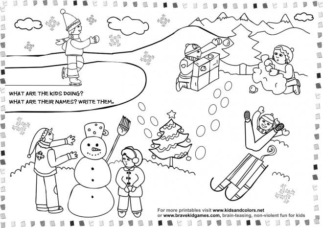 Coloriage et dessins gratuits Activités d'enfants pendant L'Hiver à imprimer