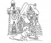 Coloriage et dessins gratuit Adulte Paysage d'hiver à imprimer