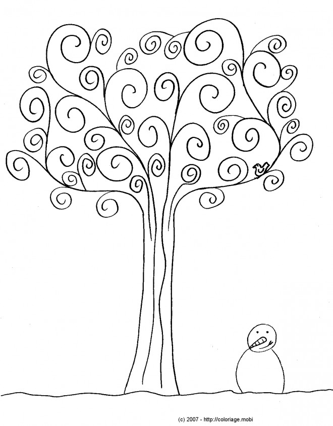 coloriage arbre en hiver dessin gratuit imprimer. Black Bedroom Furniture Sets. Home Design Ideas