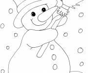 Coloriage Bonhomme de neige aime la neige