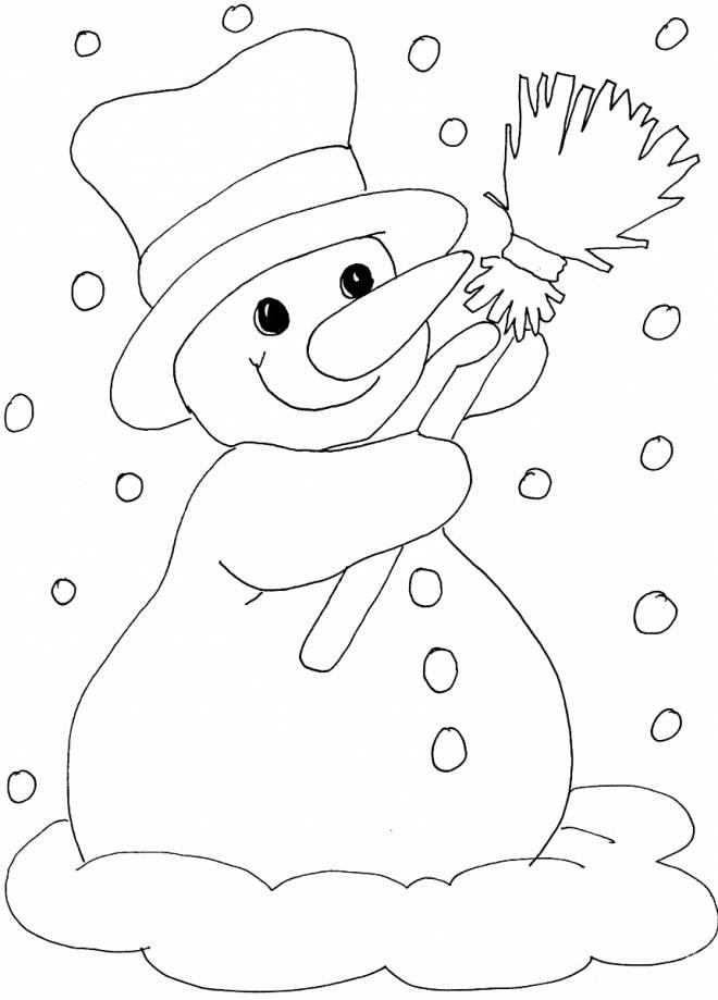 Coloriage et dessins gratuits Bonhomme de neige aime la neige à imprimer
