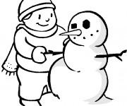 Coloriage Bonhomme de Neige et le Garçon