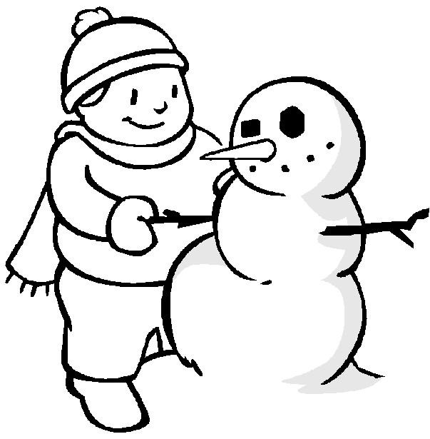Coloriage et dessins gratuits Bonhomme de Neige et le Garçon à imprimer