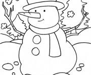 Coloriage Bonhomme de neige joyeux