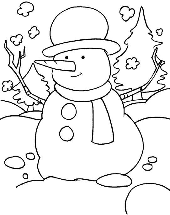 Coloriage et dessins gratuits Bonhomme de neige joyeux à imprimer