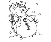 Coloriage et dessins gratuit Bonhomme de Neige rigolo à imprimer