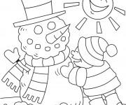 Coloriage et dessins gratuit BonHomme de Neige sous Le Soleil à imprimer
