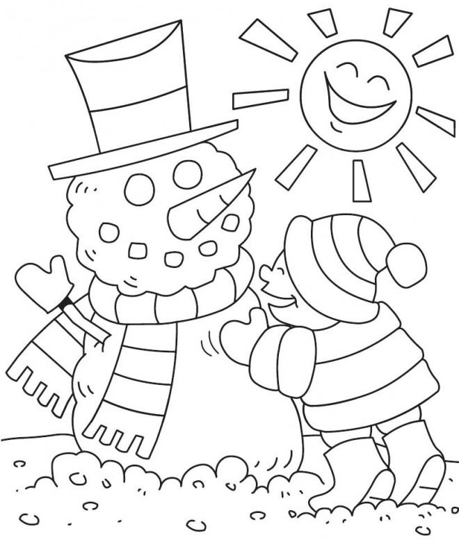 Coloriage et dessins gratuits BonHomme de Neige sous Le Soleil à imprimer