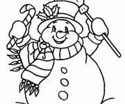 Coloriage et dessins gratuit bonhomme de neige très joyeux à imprimer