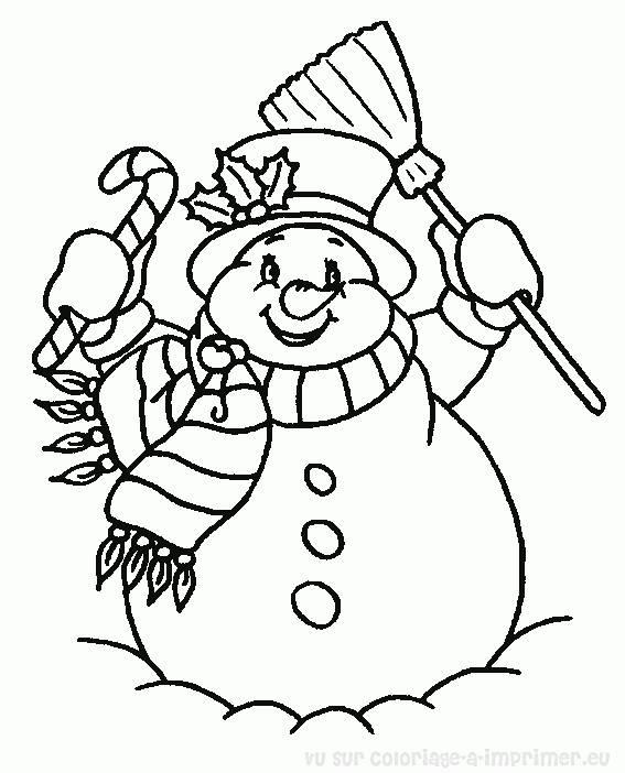 Coloriage et dessins gratuits bonhomme de neige très joyeux à imprimer