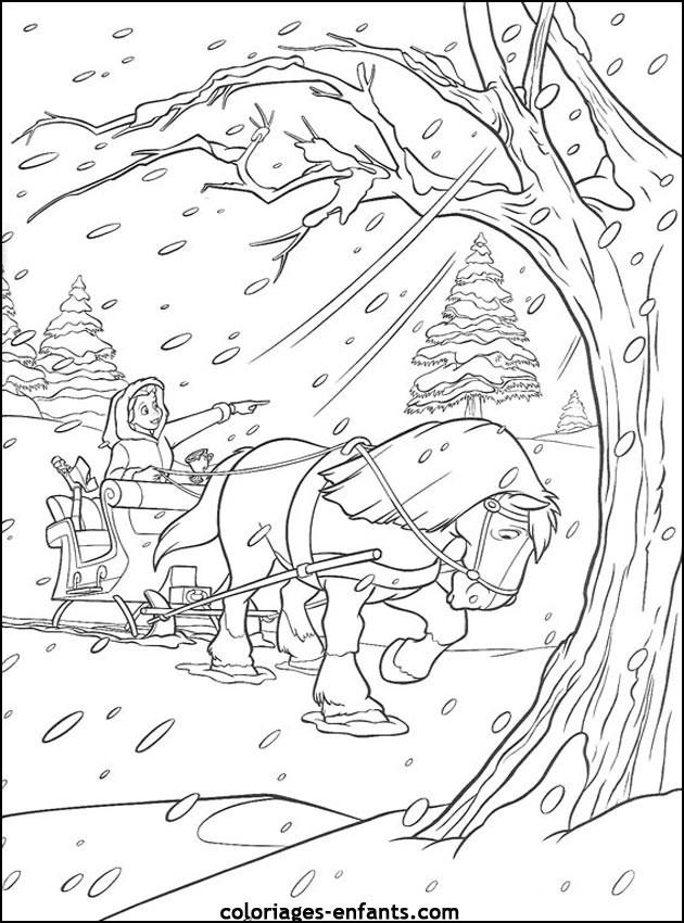 Coloriage et dessins gratuits cheval en Hiver dessin animé à imprimer
