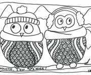 Coloriage et dessins gratuit Chouette, c'est l'hiver à imprimer