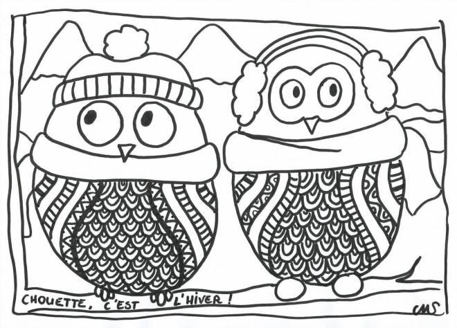 Coloriage et dessins gratuits Chouette, c'est l'hiver à imprimer