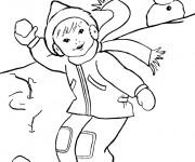 Coloriage Enfant Skieur facile