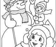 Coloriage Enfants et L'homme de Neige
