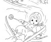 Coloriage Enfants font du Ski