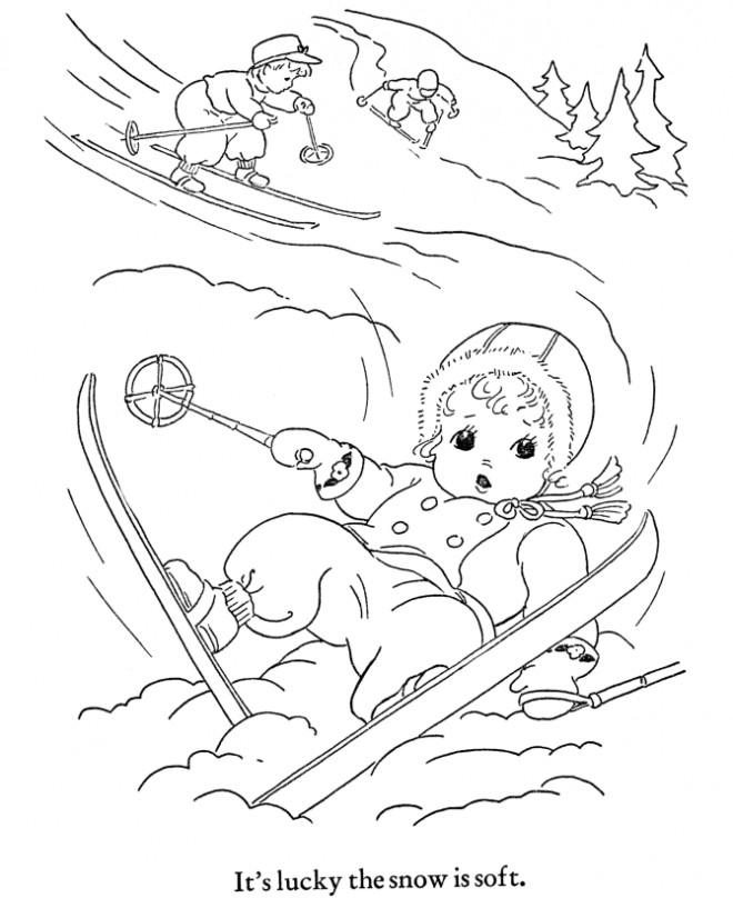 Coloriage et dessins gratuits Enfants font du Ski à imprimer