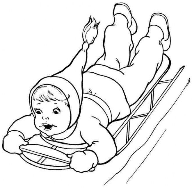 Coloriage et dessins gratuits Fille amusée en Neige à imprimer