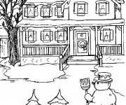 Coloriage et dessins gratuit Hiver et  Neige devant la maison à imprimer