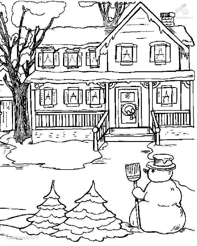 Coloriage et dessins gratuits Hiver et  Neige devant la maison à imprimer