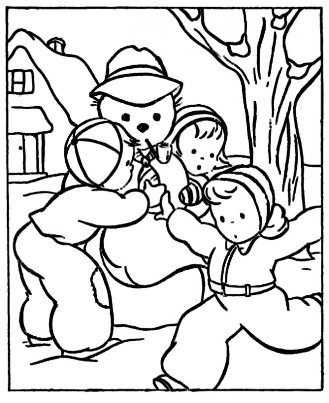 Coloriage et dessins gratuits Hiver maternelle en noir et blanc à imprimer