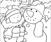 Coloriage Hiver neigeux et La petite fille
