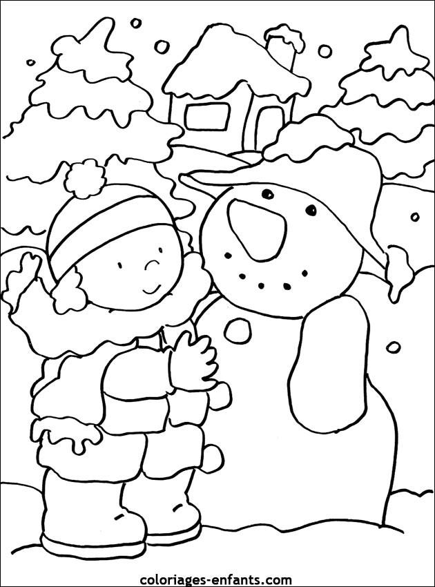 Coloriage Hiver neigeux et La petite fille dessin gratuit ...