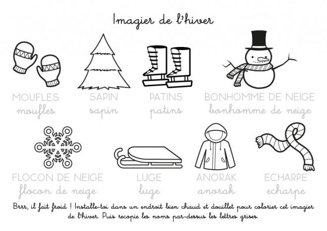 Coloriage et dessins gratuits Imagier de L'hiver à imprimer