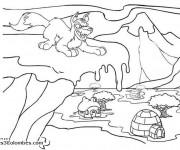 Coloriage Le Loup méchant en Hiver