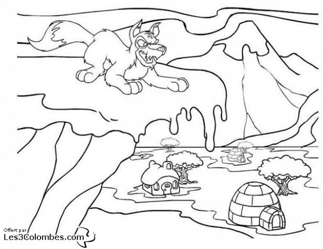 Coloriage et dessins gratuits Le Loup méchant en Hiver à imprimer