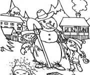 Coloriage Les enfants et La Neige