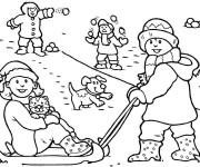 Coloriage Les Enfants jouent avec La Neige