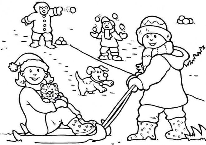 Coloriage et dessins gratuits Les Enfants jouent avec La Neige à imprimer