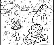 Coloriage et dessins gratuit Les enfants s'amusent avec la Neige à imprimer