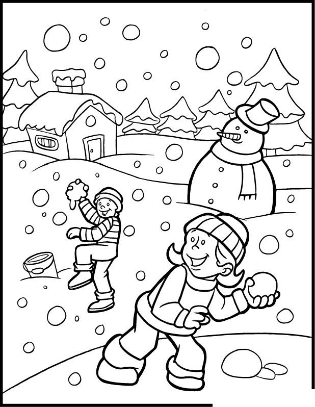 Coloriage Les enfants s'amusent avec la Neige dessin gratuit à