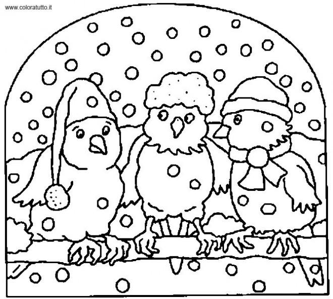Coloriage et dessins gratuits Les oiseaux sous la Neige à imprimer