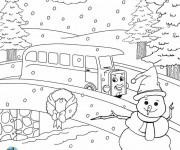 Coloriage Paysage de La Route en hiver