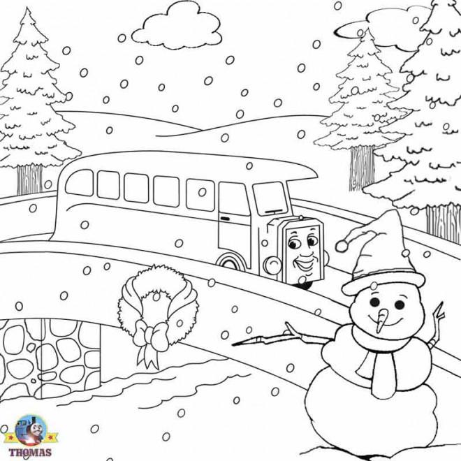 Coloriage et dessins gratuits Paysage de La Route en hiver à imprimer