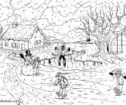 Coloriage Paysage de Neige en village