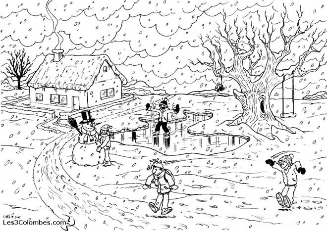Coloriage et dessins gratuits Paysage de Neige en village à imprimer