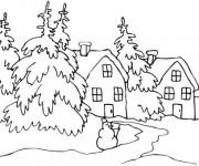 Coloriage et dessins gratuit Paysage Neige en blanc à imprimer