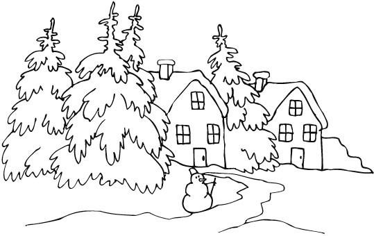 Coloriage et dessins gratuits Paysage Neige en blanc à imprimer