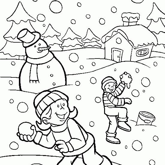 Coloriage et dessins gratuits Paysage neigeux à imprimer