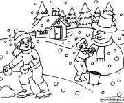 Coloriage Paysage neigeux  en Hiver en noir